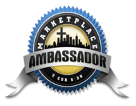 Marketplace Ambassador badge in blue and gold